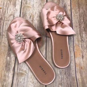 Torrid 11 Rose Gold Blush Pink Satin Slip Ons